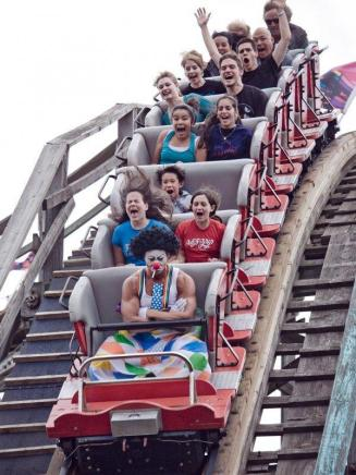 sad clown on a rollercoaster
